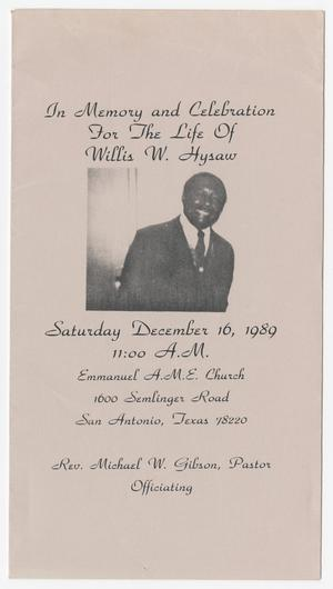 Primary view of object titled '[Funeral Program for Willis W. Hysaw, December 16, 1989]'.