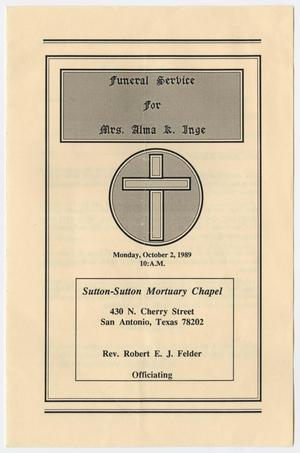 Primary view of object titled '[Funeral Program for Alma Keener Inge, October 2, 1989]'.