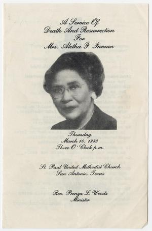 Primary view of object titled '[Funeral Program for Aletha F. Inman, March 10, 1983]'.