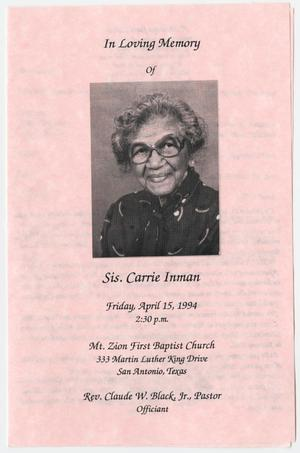 Primary view of object titled '[Funeral Program for Carrie Inman, April 15, 1994]'.