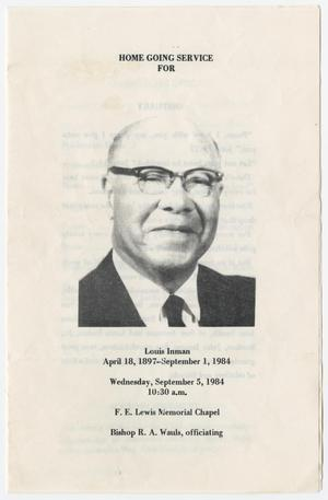 Primary view of object titled '[Funeral Program for Louis Inman, September 5, 1984]'.