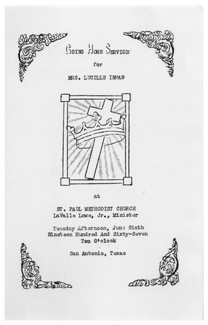 Primary view of object titled '[Funeral Program for Lucille Inman, June 6, 1967]'.