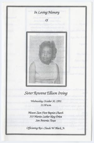 Primary view of object titled '[Funeral Program for Rowena Ellison Irving, October 30, 1991]'.