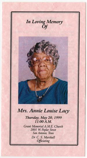 Primary view of object titled '[Funeral Program for Annie Louise Lacy, May 20, 1999]'.