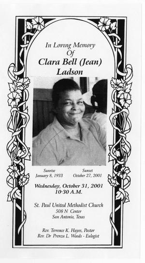 [Funeral Program for Clara Bell Ladson, October 31, 2001]