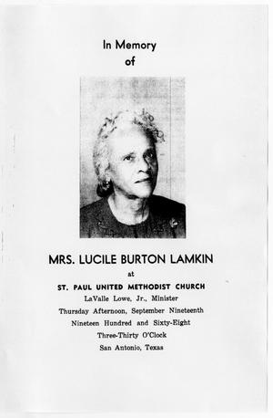 Primary view of object titled '[Funeral Program for Lucile Burton Lamkin, September 19, 1968]'.