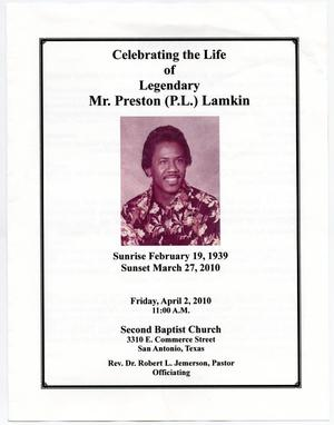 Primary view of object titled '[Funeral Program for Preston Lamkin, April 2, 2010]'.