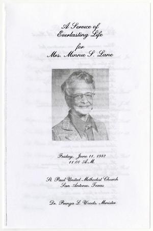 Primary view of object titled '[Funeral Program for Minnie S. Lane, June 11, 1982]'.