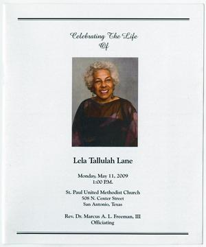 Primary view of object titled '[Funeral Program for Lela Tallulah Lane, May 11, 2009]'.