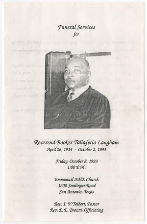 Primary view of object titled '[Funeral Program for Booker Taliaferio Langham, October 8, 1993]'.