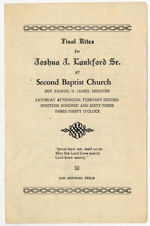 Primary view of object titled '[Funeral Program for Joshua J. Lankford, Sr., February 2, 1963]'.