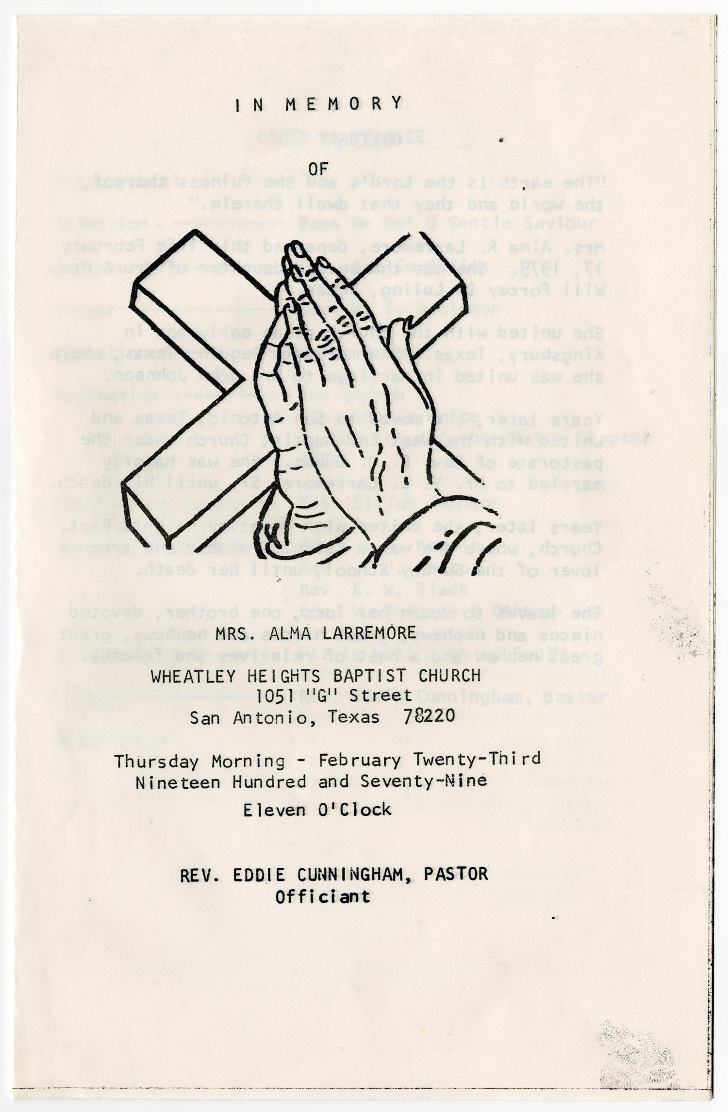 [Funeral Program for Alma Larremore, February 23, 1979]                                                                                                      [Sequence #]: 1 of 3