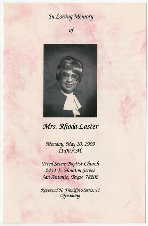 Primary view of object titled '[Funeral Program for Rhoda Laster, May 10, 1999]'.