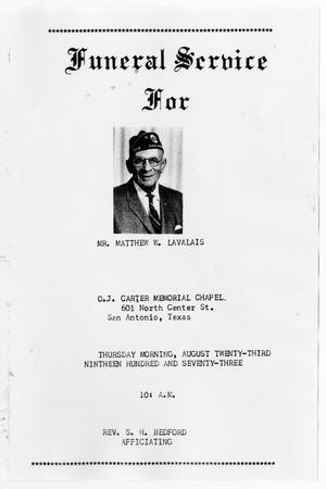 Primary view of object titled '[Funeral Program for Matthew W. Lavalais, August 23, 1973]'.