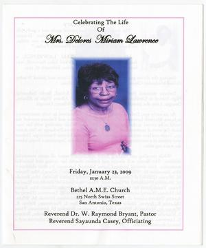 Primary view of object titled '[Funeral Program for Delores Miriam Lawrence, January 23, 2009]'.
