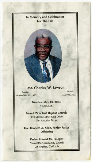 Primary view of object titled '[Funeral Program for Charles W. Lawson, May 13, 2003]'.