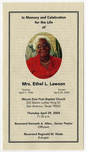 Primary view of object titled '[Funeral Program for Ethel L. Lawson, April 29, 2004]'.