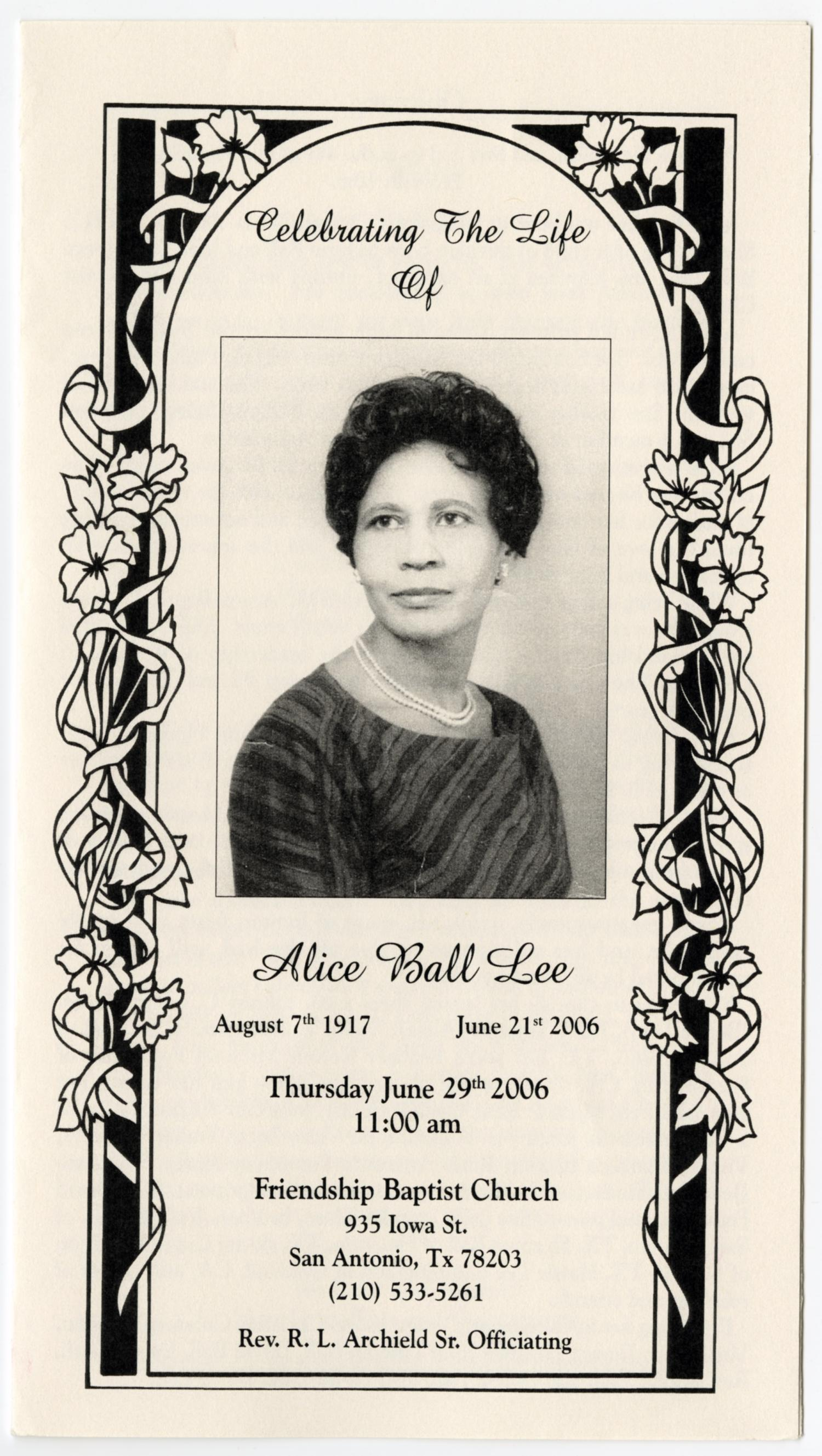 [Funeral Program for Alice Ball Lee, June 29, 2006]                                                                                                      [Sequence #]: 1 of 3