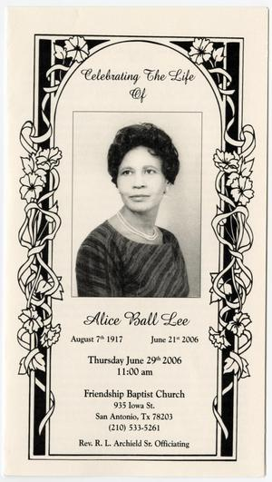 Primary view of object titled '[Funeral Program for Alice Ball Lee, June 29, 2006]'.
