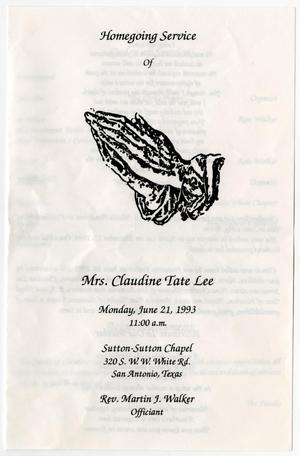 Primary view of object titled '[Funeral Program for Claudine Tate Lee, June 21, 1993]'.