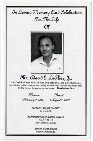 funeral program for david e leflore jr august 13 2007 the