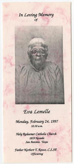 Primary view of object titled '[Funeral Program for Eva Lemelle, February 24, 1997]'.