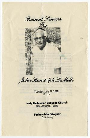 [Funeral Program for John Randolph LeMelle, July 6, 1982]