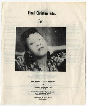 [Funeral Program for Mabel Lucille Levison, January 13, 1982]