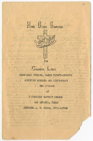 Primary view of object titled '[Funeral Program for Gardner Lewis, March 27, 1963]'.
