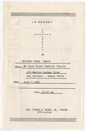 Primary view of object titled '[Funeral Program for Gene Lewis, July 7, 1983]'.