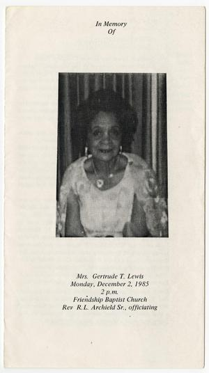 Primary view of object titled '[Funeral Program for Gertrude T. Lewis, December 2, 1985]'.