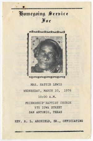 Primary view of object titled '[Funeral Program for Hattie Lewis, March 10, 1976]'.