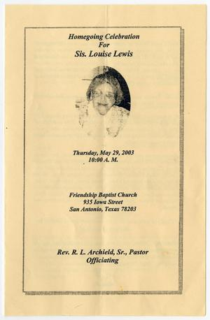 Primary view of object titled '[Funeral Program for Louise Lewis, May 29, 2003]'.
