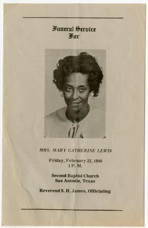 Primary view of object titled '[Funeral Program for Mary Catherine Lewis, February 22, 1980]'.