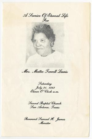 Primary view of object titled '[Funeral Program for Mattie Terrell Lewis, July 31, 1982]'.