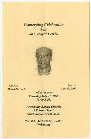 Primary view of object titled '[Funeral Program for Royal Lewis, July 21, 2005]'.