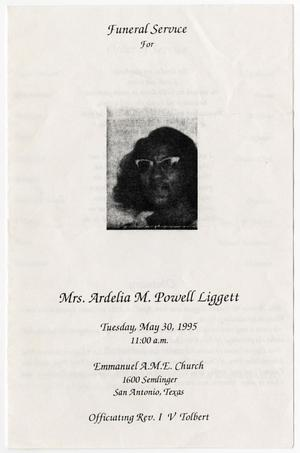 Primary view of object titled '[Funeral Program for Ardelia M. Powell Liggett, May 30, 1995]'.