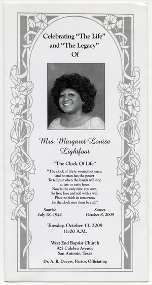 Primary view of object titled '[Funeral Program for Margaret Louise Lightfoot, October 13, 2009]'.