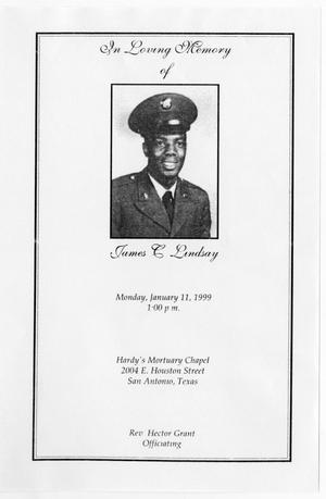 Primary view of object titled '[Funeral Program for James C. Lindsay, January 11, 1999]'.