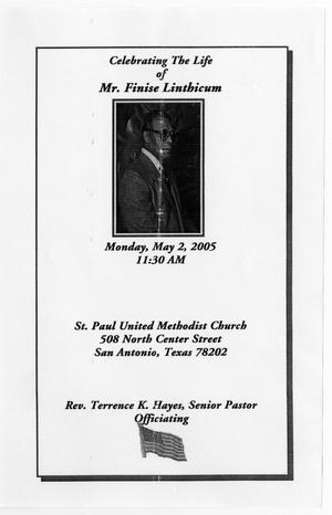 Primary view of object titled '[Funeral Program for Mr. Finise Linthicum, May 2, 2005]'.