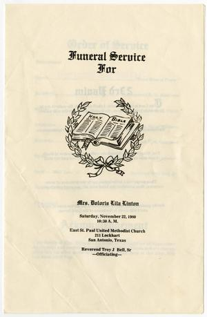 Primary view of object titled '[Funeral Program for Doloris Lila Linton, November 22, 1980]'.