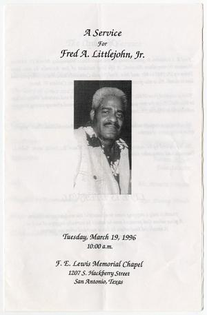 [Funeral Program for Fred A. Littlejohn, Jr., March 19, 1996]