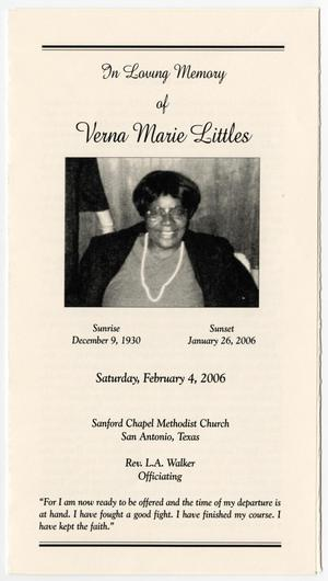 Primary view of object titled '[Funeral Program for Verna Marie Littles, February 4, 2006]'.