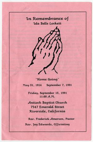 [Funeral Program for Ida Belle Lockett, September 13, 1991]