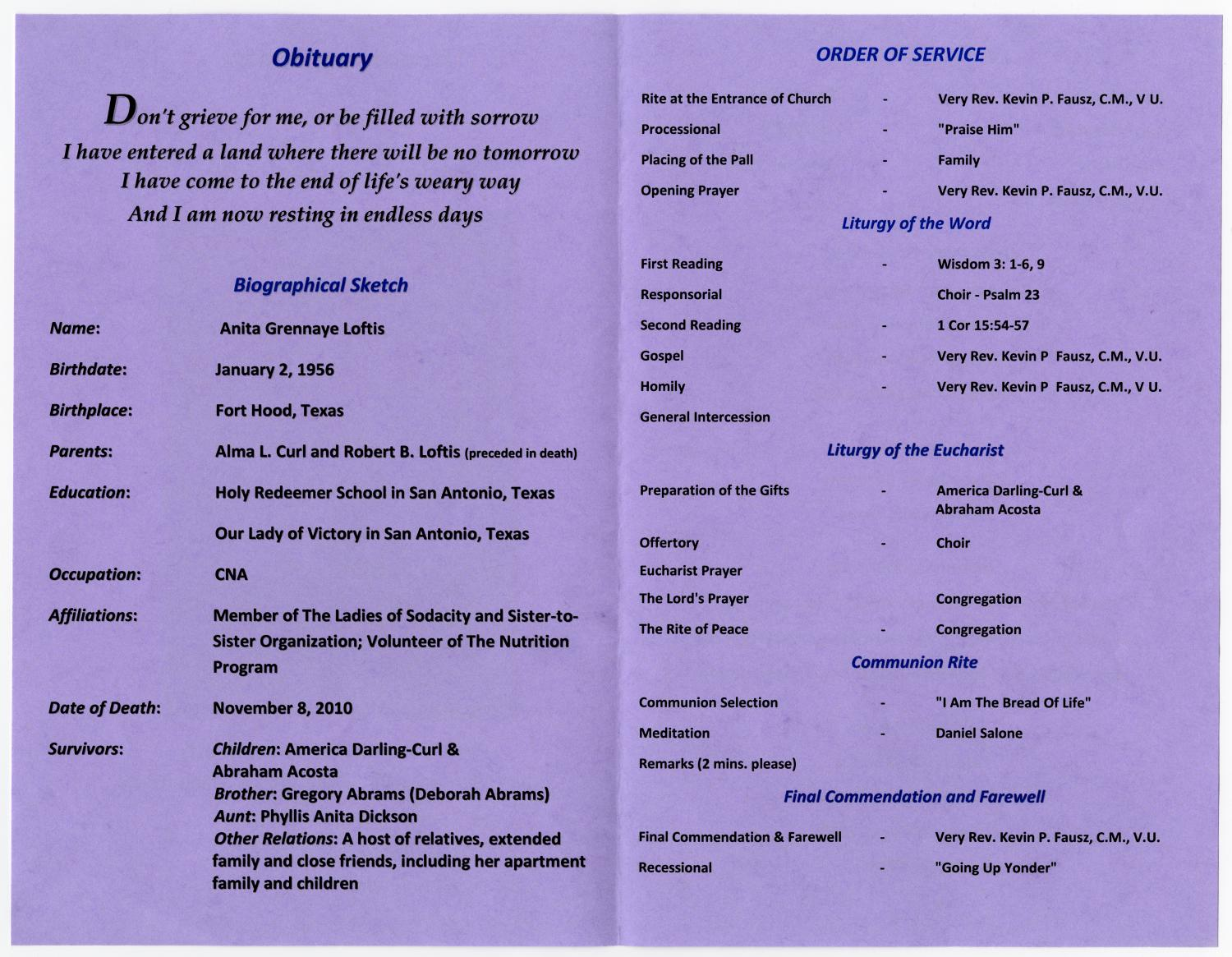 [Funeral Program for Anita Grennaye Loftis, November 13, 2010]                                                                                                      [Sequence #]: 2 of 5