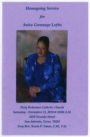 [Funeral Program for Anita Grennaye Loftis, November 13, 2010]