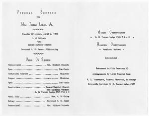 Primary view of object titled '[Funeral Program for Thomas Logan, Jr., April 4, 1972]'.