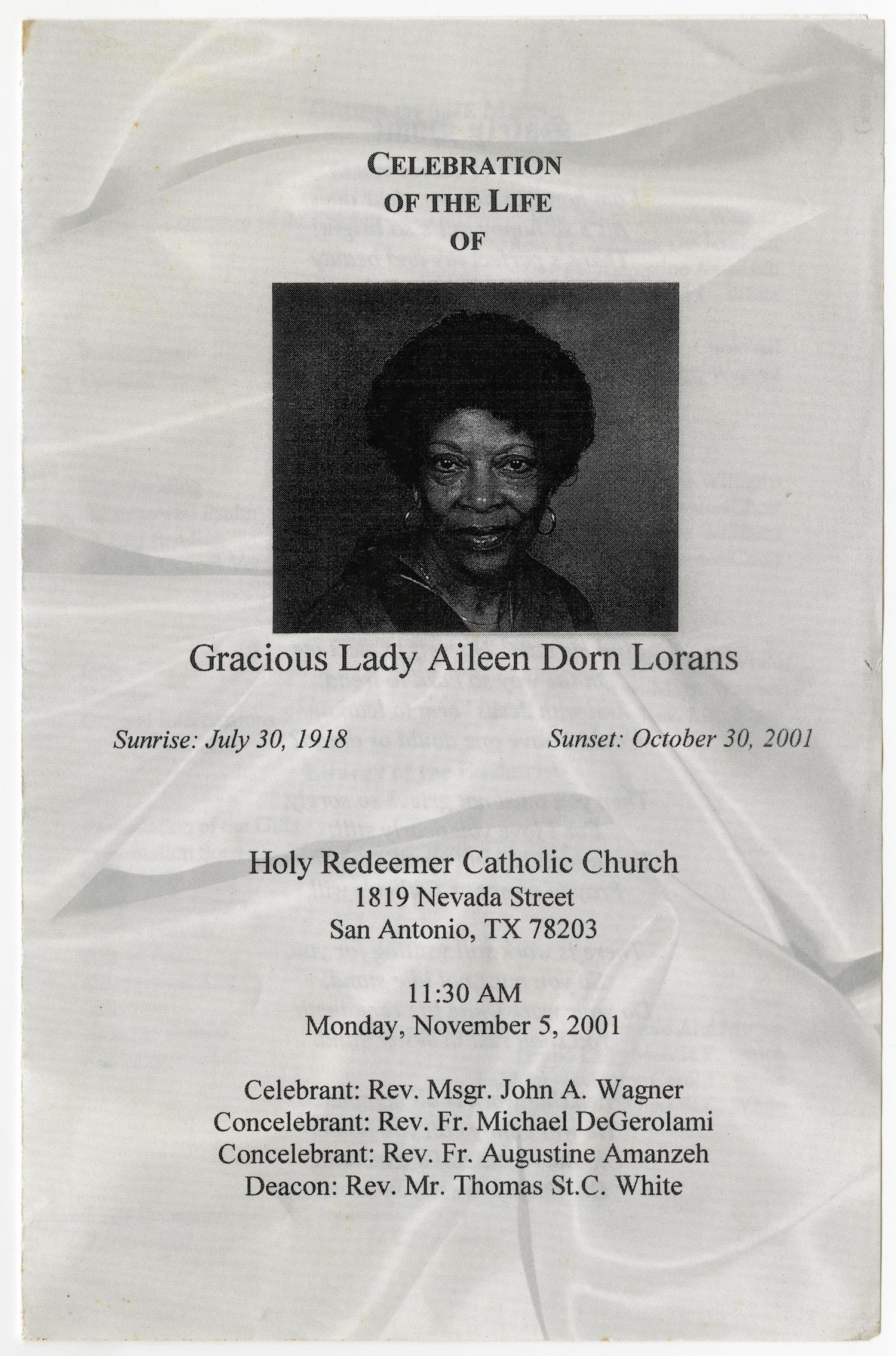 [Funeral Program for Aileen Dorn Lorans, November 5, 2001]                                                                                                      [Sequence #]: 1 of 5