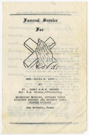 Primary view of object titled '[Funeral Program for Eliza R. Lott, October 10, 1973]'.