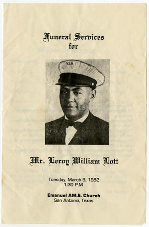 [Funeral Program for Leroy William Lott, March 9, 1982]